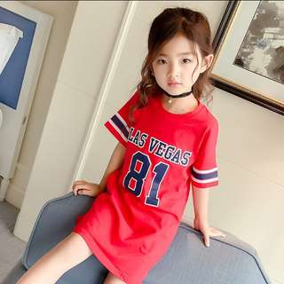 Las Vegas Red Tshirt Dress For Girls