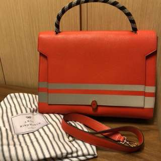 Anya Hindmarch bathurst satchel stripes in flame red carpet