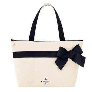日雜LANVIN en Bleu 韓風 氣質珍珠 蝴蝶結 托特包 單肩包 購物袋