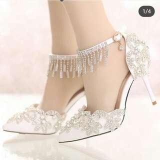 White wedding pumps