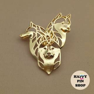 Husky Trio Metal Pin (two colours: gold & silver)