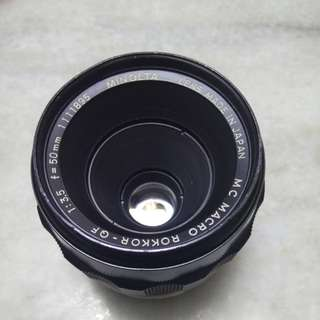 Minolta 50mm f3.5 rokkor qf macro md mount