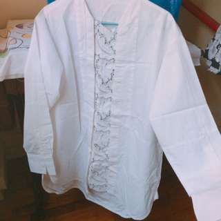 WHITE LEATHER PANEL BLOUSE