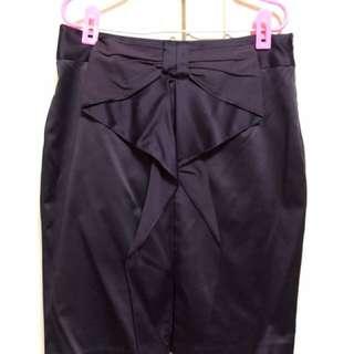 韓風紫色緞面氣質裙