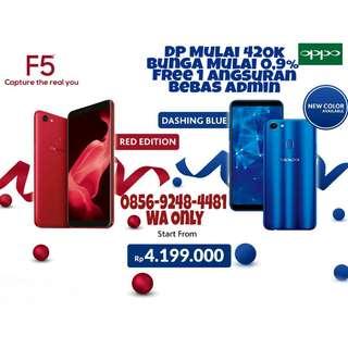 OPPO F5 Red/Blue Cicilan Tanpa Kartu Kredit DP Mulai 10% Bunga Mulai 0,9 Gratis 1xAngsrn Bebas Admin