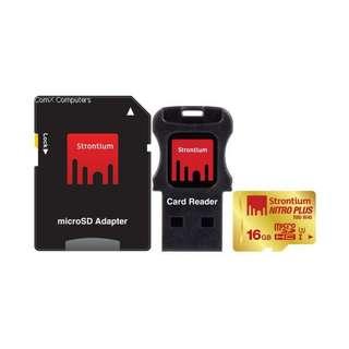 STRONTIUM 16GB MICROSD NITRO PLUS 3 IN 1 R95/W65