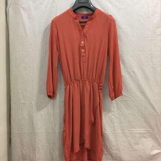 Kezza 粉橘色絲質連身洋裝