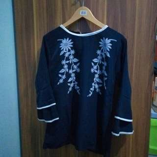 Blouse Flower Navy