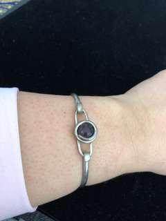 Sterling silver bracelet with purple stone