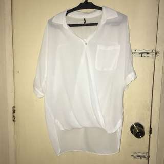 White bottoned top