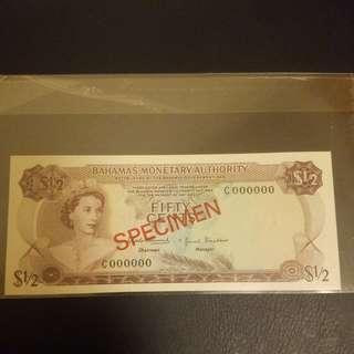 BAHAMAS MONETARY AUTHORITY 1/2元樣票
