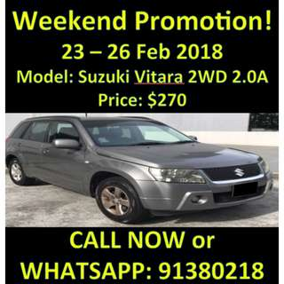 23 - 26 Feb Promo Weekend $270 Suzuki Vitara 2WD