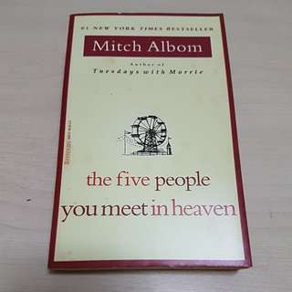 2 Mitch Albom books - [the five people you meet in heaven] and [tuesdays with Morrie]