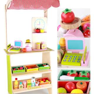 BN Wooden Fruit & Vegetable Display Cart Stand