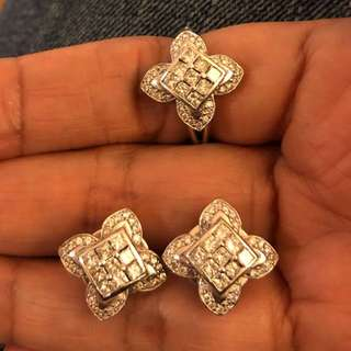 14k Flower Earrings & Ring Diamond Set
