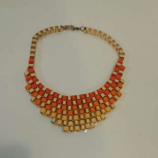 Gold and orange chunky necklace