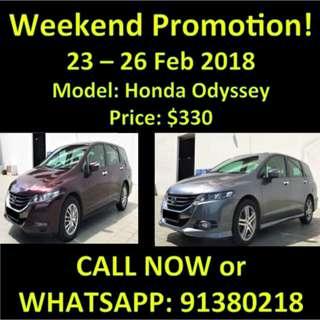 23 - 26 Feb Weekend $330 Honda Odyssey