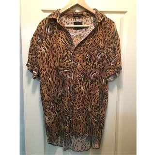 Men's Leopard Print Stussy Shirt - Size M