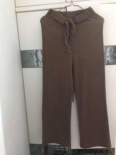 啡色針織闊腳褲