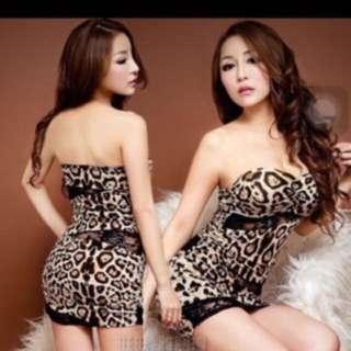 🚚 全新 豹紋爆乳性感洋裝 禮服 平口v領 可換物
