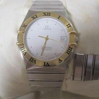 出售物品: 出售物品: 100%真品OMEGA-CONSTELLATION星座全鋼閃爍白面日歷背透機械自動腕錶***1995年錶超新淨