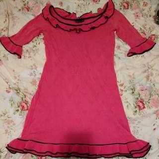 日本製喇叭袖針織心形暗花裙