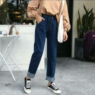 全新鬆緊牛仔褲