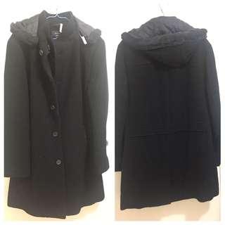 Black winter long coat