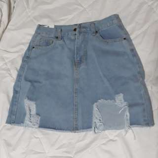 Distressed Light Denim Skirt