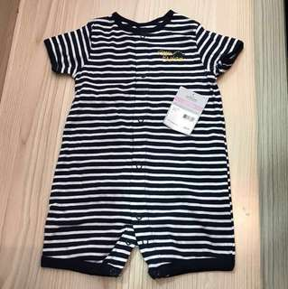 #Huat50Sale Carter's Playwear Baby Boy Romper Navy Blue / White Stripes with Dinosaur 9 months