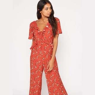 Miss Selfridge Red Floral Jumpsuit