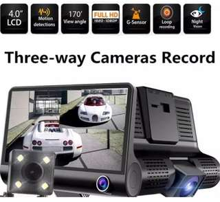 Car Camera 3 in 1 - Front, Inside, Rear Lens View / Record, Night Vision, Auto Loop Recording, Motion Detection