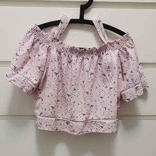 Brand new off shoulder top in pink with mini floral