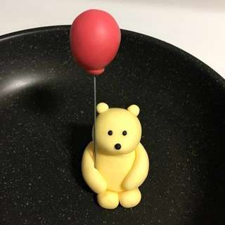 Customized Winnie the Pooh with balloon cupcake or cake fondant topper