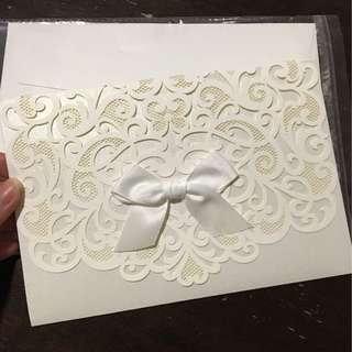 Ribbon white wedding valentines card