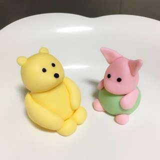 Customized Winnie the Pooh and piglet cupcake or cake fondant topper
