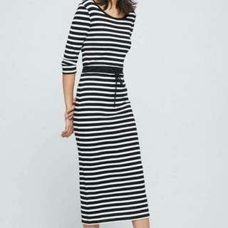 💋Stripe Drawstring Long Dress P349