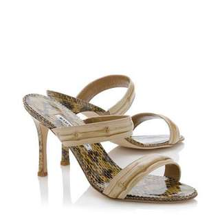 Authentic Manolo Blahnik Snakeskin Bamboo Sandals, Excellent Condition