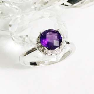 Amethyst Ring 925sliver with AB Diamond