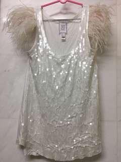 Mango jeans white sequins with feathers tank top