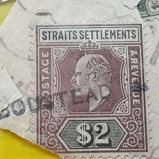 STRAITS SETTLEMENTS - King EDWARD VII  -  $2 , $1 & others  Stamp - 7 Pieces LOT