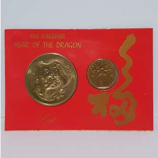 1988 Singapore Year of the Dragon Medallion Coin Set
