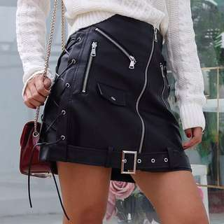 Skirt pu leather with belt zip