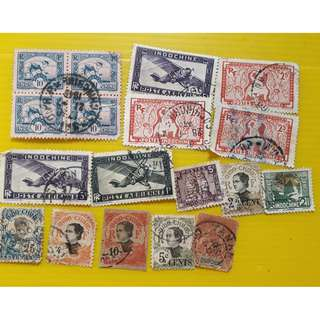 INDO - CHINE , Vintage RARE Stamps - 18 Pcs LOT