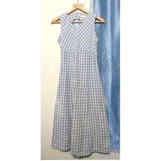 藍格子紋綁帶棉質古著洋裝