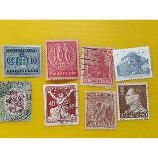 FINLAND GERMANY ITALY EIRE FRANCE ect - vintage used Stamps Collection - 8 pcs Lot