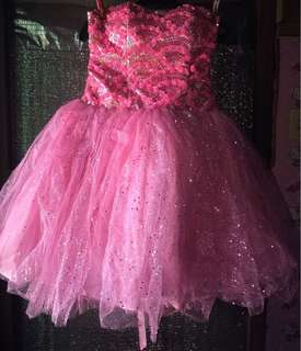 FOR RENT ‼️ Pink Glitter Cocktail with Petticoat (once used)