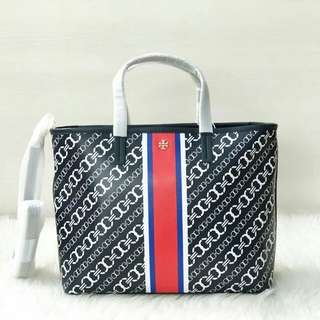 TORY BURCH GEMINI LINK SMALL TOTE NAVY 24.5X30X10.5 TOP ZIP