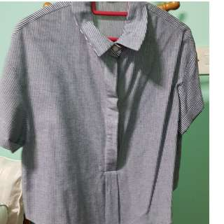 Collar Top Short Sleeve (grey)