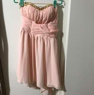 Bridesmaid light pink shirt dress